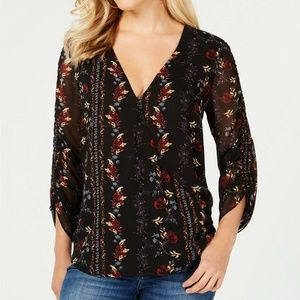 GUESS Floral Printed Ruched-Sleeve Faux Wrap Top